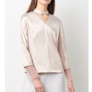 Tops - Nude Tulle Bell Sleeve Top
